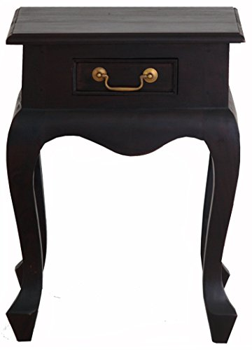 NES Furniture abc10285 Queen Anne Nightstand Fine Handcrafted Solid Mahogany Wood, 24 inches, Chocolate
