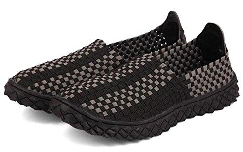 GFONE Women's Men's Unisex Lightweight Woven Elastic Flat Sandals Slip On Fitness Walking Trainer Sport Sneaker Water Shoes Size 2.5-9.5 Black 4V6PpHeT