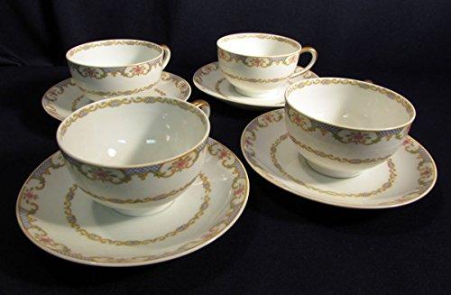 CH Field Haviland Limoges GDA France The Kathleen Cups Saucers Set of Four (France Saucer)