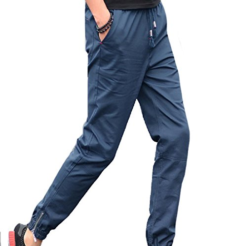 Sexybaby Mens Active Stylish Elastic Waist Solid Color Harem Pant Light Blue XL