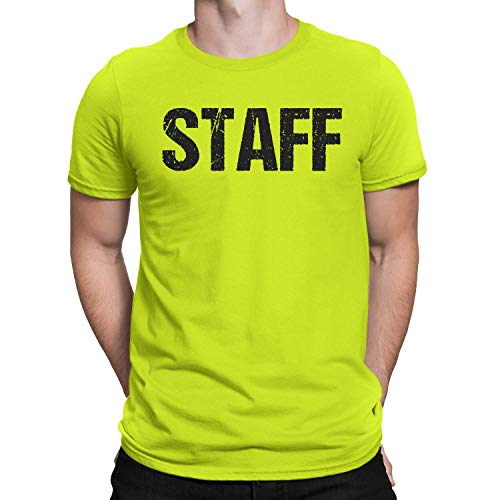 NYC FACTORY Neon Staff T-Shirt Front & Back Print Mens Event Shirt Yellow Tee (XL)