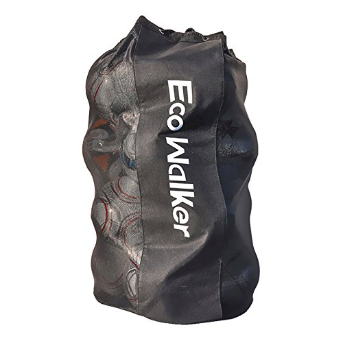 Eco Walker Ball Bag Large Capacity (Holds 16 Soccer Balls) Heavy Duty Mesh Drawstring with Adjustable Shoulder Strap and Thick Handle (Heavy Duty Mesh Bag)