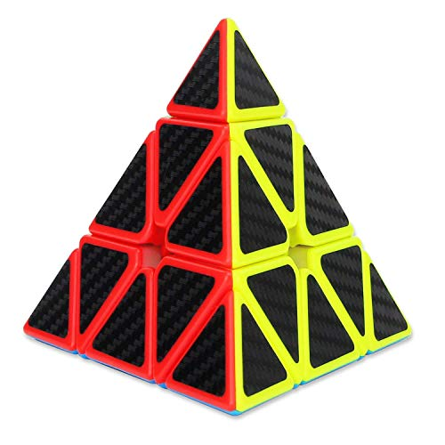 D.F.L Rubix Triangle Pyramid Speed Cube Carbon Fiber Sticker Magic Cube 3D Puzzles Cube Toys for Kids