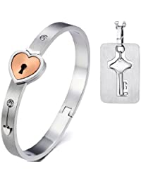 2pcs Stainlss Steel His and Hers Love Heart Key Lock Matching Tag Pendat Necklace,Bangle Bracelet for 5.5-6.5 Inch Wrist,