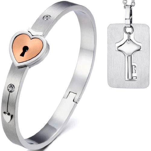 Oidea 2pcs His Hers Love Heart Key Lock Macthing Bangle Bracelet Tag Pendat Necklace, Rosegold]()