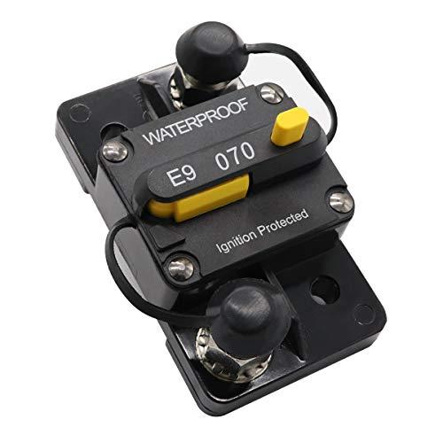 70 amp Circuit Breaker for Trolling Motor UTV Truck RV Marine Boat Solar Power Battery Bank Inverter Circuit Breakers with Manual Reset Switch 12V - 72V DC