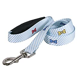 Dawg Seersucker Blue with Bow Ties Dog Leash with Comfort Grip Handle-Medium-3/4\