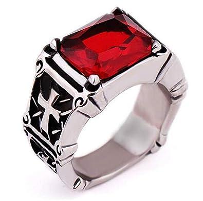 f04cca19f1f456 Men Ring Titanium Steel Classic Red Diamond Ring fashion man ring ...