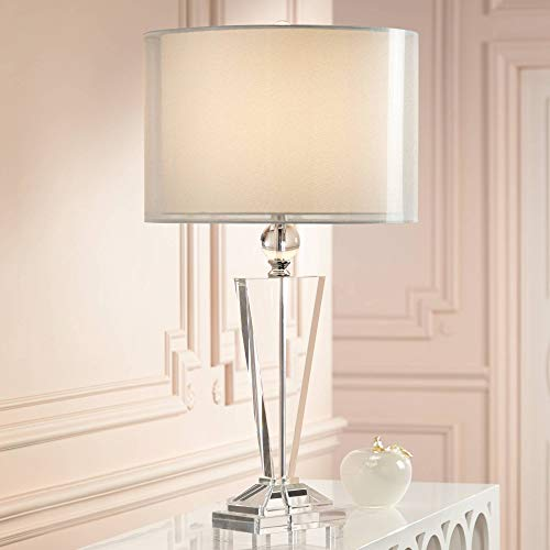 Double Sheer Silver Crystal Trophy Table Lamp - Vienna Full Spectrum - Footed Trophy