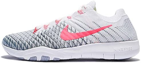 Nike Women s Free TR Flyknit 2 Nylon Running Shoes-White Hyper Punch Wolf Grey-7.5