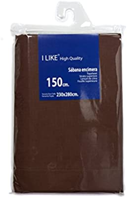 I LIKE® Sabana ENCIMERA Chocolate 100% ALGODÓN Cama 150 (230 X 280 ...