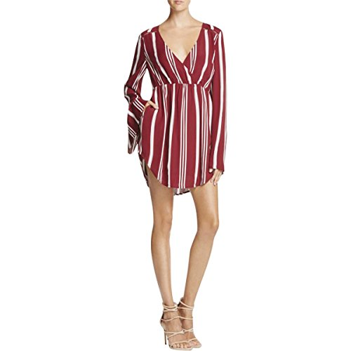 TJD Womens Striped Long Sleeves Tunic Top Red XS by TJD