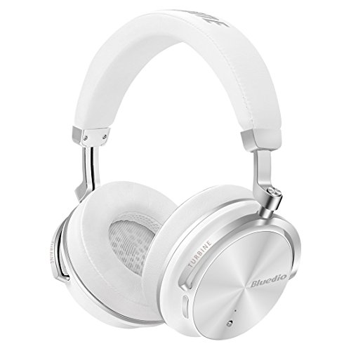 Bluedio T4S Active Noise Cancelling Bluetooth Headphones Over Ear with Mic, 57mm Driver Swiveling Wireless Headset, Wired and Wireless headphones for Cell Phone/TV/PC Gift (White)