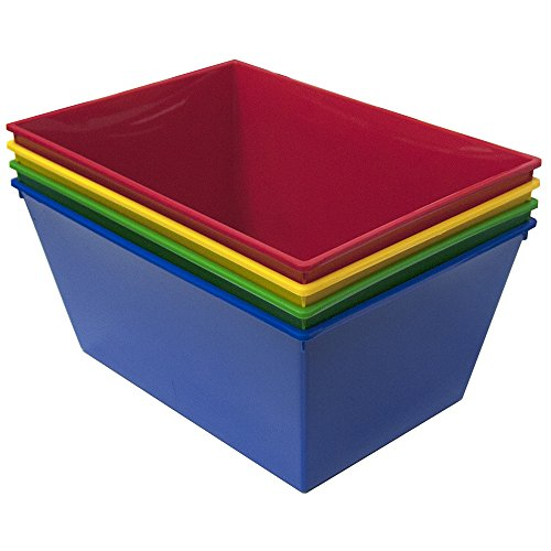 STORi Nest and Stack Tapered Plastic Bins | set of 4 Assorted Colors (Toy Plastic Bins)