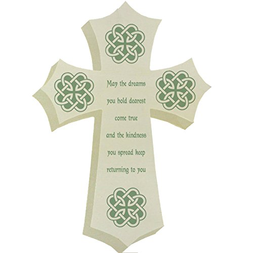 Irish Blessing Prayer May The Dreams You Hold Dearest Come True Green Shamrock 3D Color Printed Wooden -