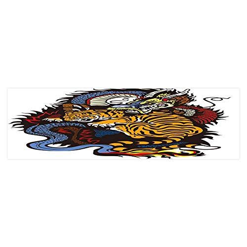 Aquarium Sticker Dragon and Tiger Fight Tattoo Fish Tank Backdrop Static Cling L29.5 x H17.7 -