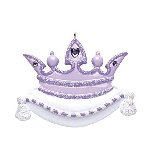 (Personalized Princess Crown Christmas Tree Ornament 2019 - Beautiful Glitter Heart Rhinestone White Monarch Pillow Cute Fairy-Tale Treasure Kid Pixie Toy Gift - Free Customization (Purple))