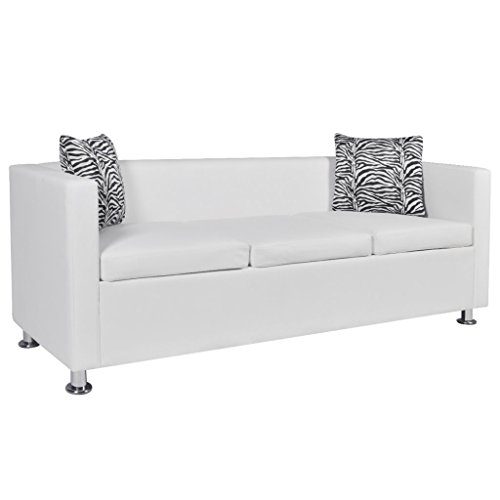 Amazon.com: Festnight Modern Faux Leather 3-Seater Sofa for Living ...