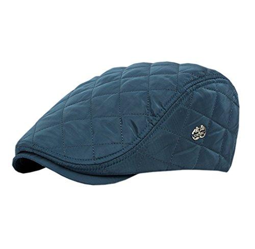 Acvip Homme Bleu Rétro Hat À Casquette Plate Femme Réglable Carreaux Adulte Visière Pour qv7q4OnrW