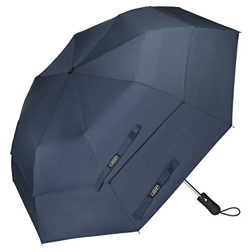 G4Free Compact Golf Umbrella 58-inch Large Umbrella Windproof Double Canopy Vented Automatic Open Travel Umbrellas Collapsible Folding Umbrella for Men Women(Navy Blue)