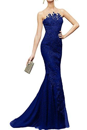 Partykleider Schwarz Dunkel Royal La Damen Spitze Marie Braut Promkleider Meerjungfrau Blau Wunderschoen Bodenlang Formalekleider 8EwHq