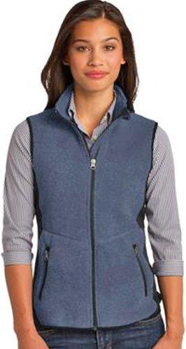 Port Authority Ladies R-Tek Pro Fleece Full-Zip Vest>L Navy Heather/Black L228 (R-tek Fleece Authority Ladies Port)