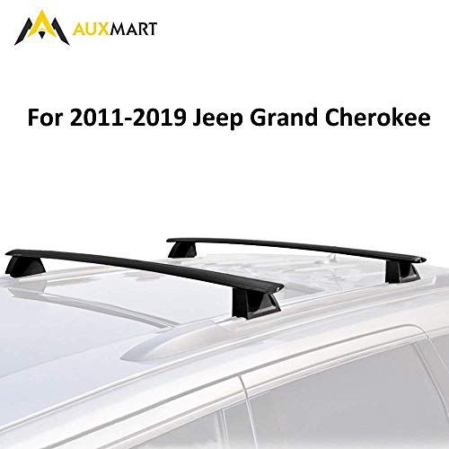 AUXMART Roof Rack Cross Bars with Locks for 2011-2019 Jeep Grand Cherokee WK2 (Chrome Side Rails Needed)