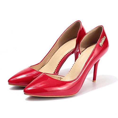 Toe Leather Red Patent Leather Pointed Shoes Patent AdeeSu Closure Loafers No Womens SDC03867 TCxwSnT4qa