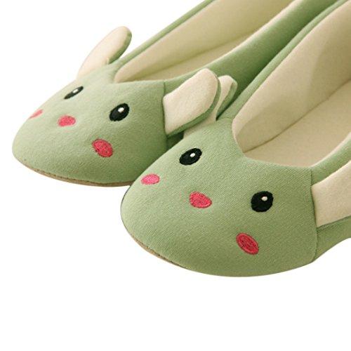 Wensltd (tm) Donna Pantofole Da Casa Cartoon Scarpe Da Ballo Calde Invernali (s, Bianco) (m, Grigio) Verde