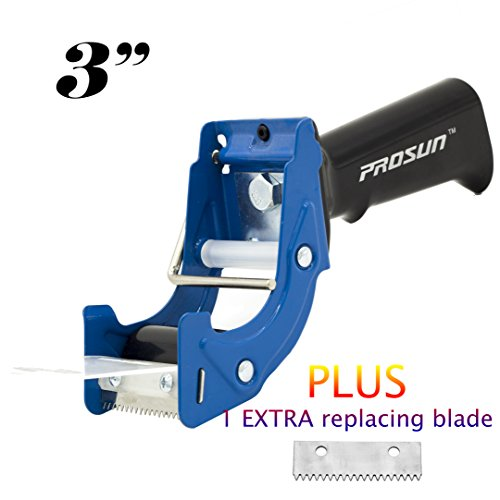 PROSUN Fast Reload 3 Inch Wide Large Tape Gun Dispenser Packing Packaging Sealing Cutter Blue