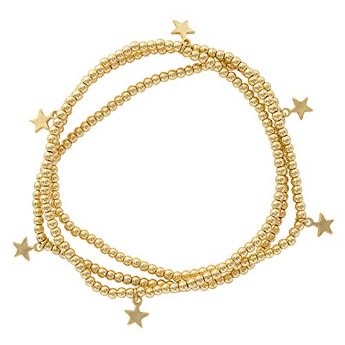 And Lovely 14K Gold Plated Bead Stretch Bracelet with 14K Gold Plated Star Charm - Stackable Stretch Bracelet - Set of 3 (Gold) from And Lovely