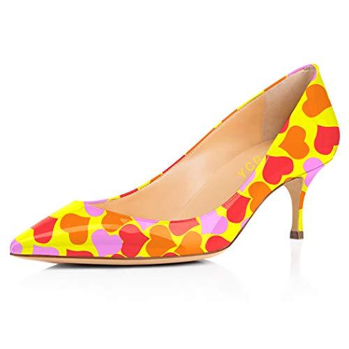 YCG Women's Low Kitten Heels Pumps Red Purple Orange Heart Tatoo Printing Wedding&Party Pleather Comfort Slip on Shoes US 9.5 ()