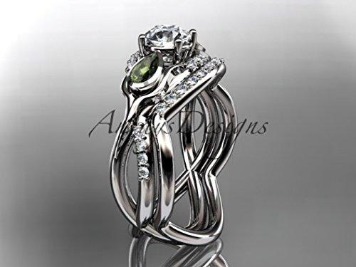 Unique Platinum diamond tulip flower, wedding set, leaf and vine engagement set ADLR226 (Wedding Jewelry Set Platinum)