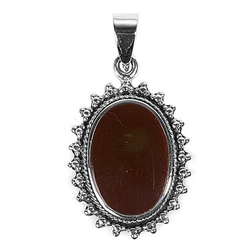 Glitzs Jewels 925 Sterling Silver Pendant with Stone in Gift Box Red//Brown