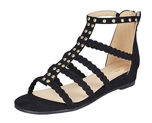 DREAM PAIRS Women's Formosa_6 Black Low Platform Wedges Ankle Strap Sandals Size 8.5 B(M) US