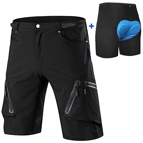 Cycorld Men's-Mountain-Cycling-Biking-Padded-MTB-Shorts (Black and Underwear, XL(Waist:32.5