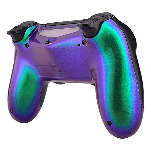eXtremeRate Green and Purple Bottom Shell, Chameleon Back Housing Case Cover, Game Improvement Replacement Parts for Playstation 4 PS4 Slim Pro Controller JDM-040, JDM-050 and JDM-055