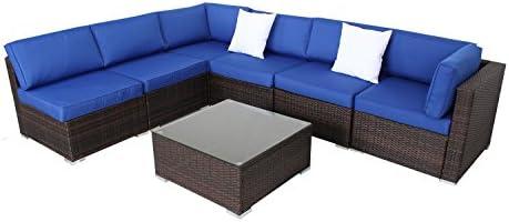 JETIME Juego de sofá de ratán para patio, 7 piezas, de ...
