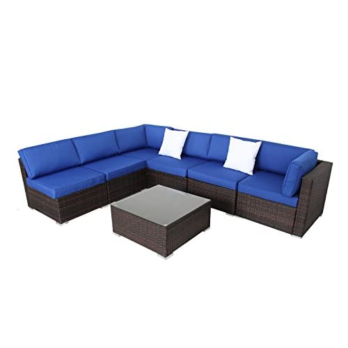 Discount JETIME Outdoor Sofa Set Brown Woven Rattan Couch Wicker 7PCS Sectional Conversation Lawn Garden Patio Furniture Set with Royal Blue Cushion supplier