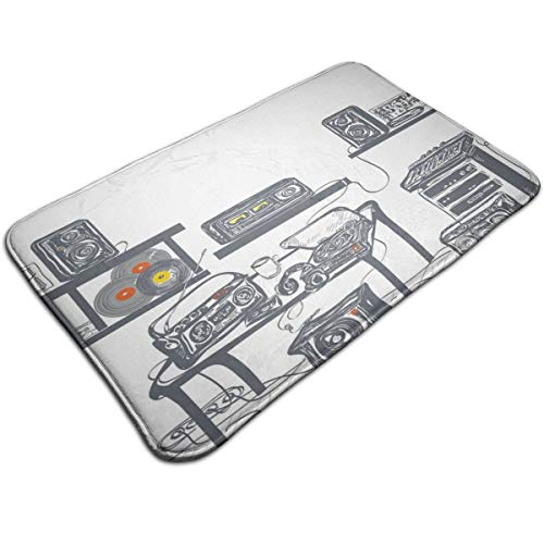 (Memory Foam Bath Mat Non Slip Absorbent Super Extra Soft Cozy Bathroom Rug Carpet (20 X 32) Inch,Recording Studio with Music Devices Turntable Records Speakers Digital Illustration Theme)