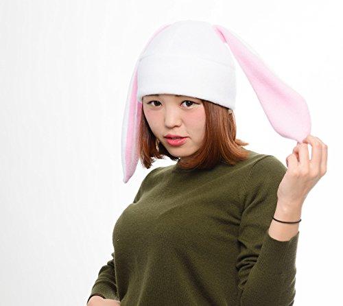White bunny Rabbit Ear Hat Toque Beanie Animal Fleece Anime Manga Ski Snowboarding Convention Goth Punk Rave Costume Cosplay Halloween Christmas Gift