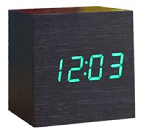 Spy Vs Spy Costume Review (Cube Shaped LCD Display Digital Alarm Clock Wooden Comapct Clock Green Number Dark Brown Body)