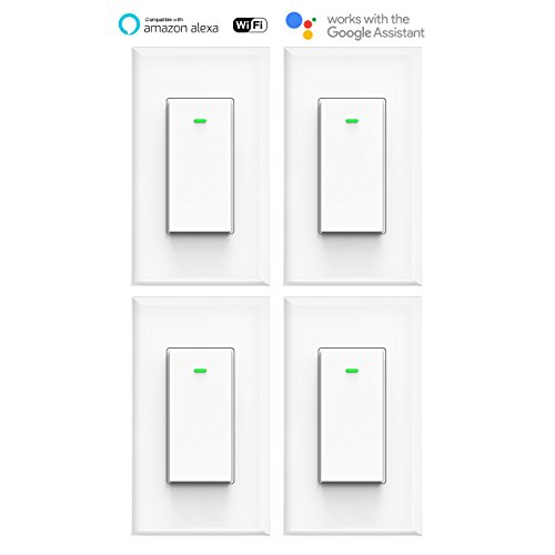 MICMI Smart Light Switch, Compatible with Amazon Alexa Echo, Works with Google Home No Hub Required, Smart Home WiFi Wireless, Remote Control Light Switch Socket, White (Smart Switch 4pack) by MICMI