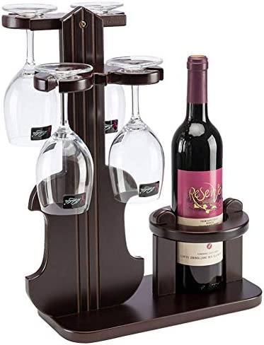 YXB Classic Elegant Tabletop Wine Cup Rack Hold 4 Glasses 1 Bottle, Natural Wood Freestanding Wine Glass Holder Storage Drying Rack, Gift for Wine Lovers and Guests, 1pcs