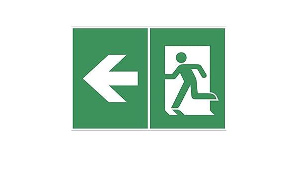 Flecha//Salida de Emergencia Izquierda BENDER Salvavidas Cartel S/ímbolo