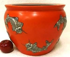 Fish on orange porcelain fish bowl 12 home for Fish bowl amazon