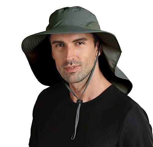 a71d58bb3151d Connectyle Outdoor Large Brim Fishing Hat with Neck Cover UPF 50+ Mesh Sun  Hats