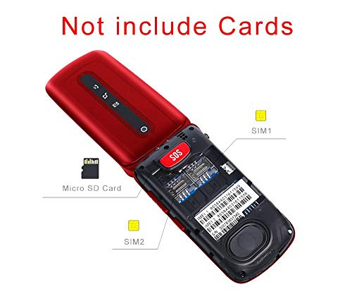 Ushining Flip Phone Unlocked 3G SOS Big Button Tmobile Flip Phone Dual SIM Card Slots Basic Cell Phones Large Button Large Volume for Senior & Kids (Red)