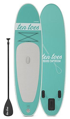 Ten Toes Board Emporium Weekender Inflatable Stand Up Paddle Board Bundle, Seafoam, 10'/Medium