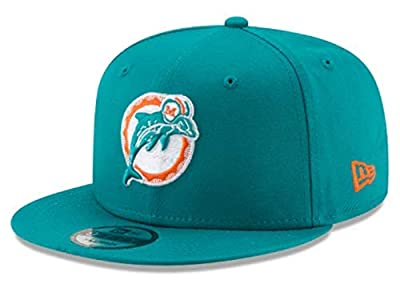 New Era Miami Dolphins Hat NFL Teal Team Color Historic Logo 9FIFTY Snapback Adjustable Cap Adult One Size : OSFM